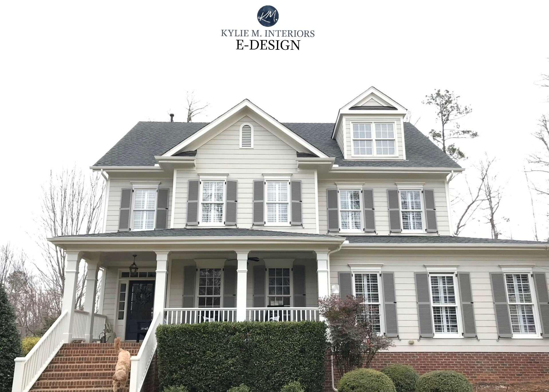 Exterior with red brick painted Benjamin Moore Revere Pewter and Creamy White trim, client choice. Graystone shutters. Kylie M Interiors Edesign, online paint color consultant
