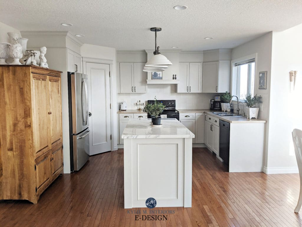 Gray greige painted kitchen maple cabinets. Marble island and beige laminate countertop. Kylie M Interiors Edesign, Benjamin Moore and Sherwin Agreeable Gray, Classic Gray