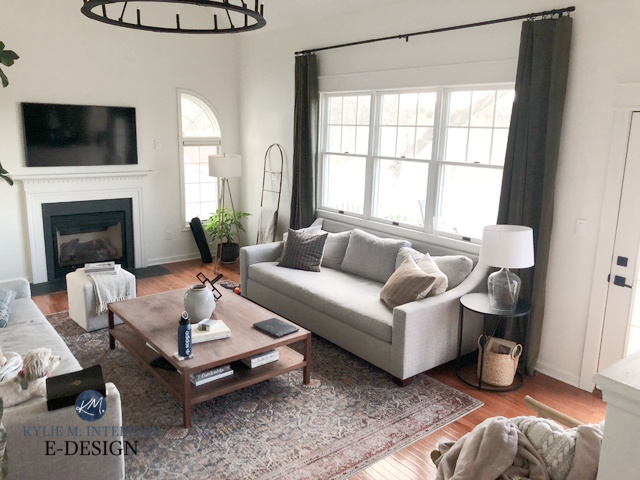Living room in transitional style, neutral sofa, area rug, home decor. Wall paint is Sherwin Williams Alabster, a warm white. Kylie M Interiors Edesign
