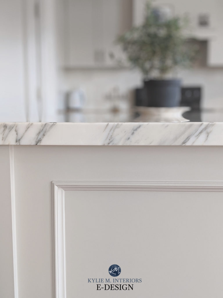 Marble island countertop, painted warm gray, greige island. Kylie M Interiors Edesign, online paint color consulting