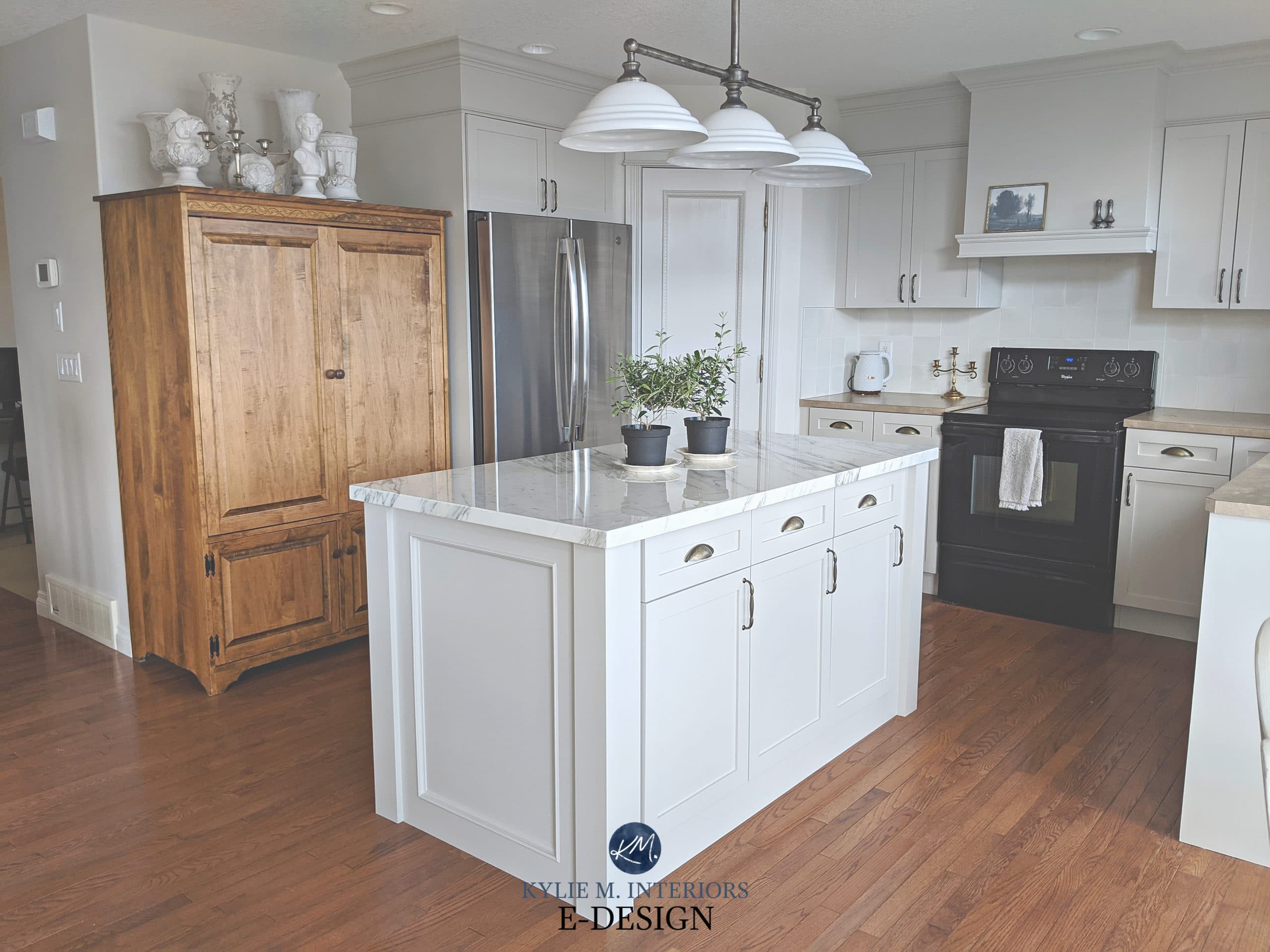 Painted Maple Wood Kitchen Cabinets Sherwin Agreeable Gray And Benjamin Classic Gray Marble Island Beige Formica Countertops Kylie M Interiors Edesign 2