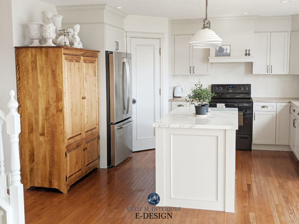 Painted wood maple kitchen cabinets. Kylie M Interiors Edesign. Benjamin Moore Classic Gray, Sherwin Agreeable Gray, marble island, beige laminate countertops. Edesign, virtual advice