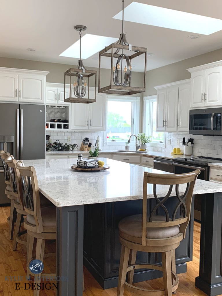 Alabaster, White kitchen, Alabaster, Island Sherwin Iron Ore, Viatera Aria, Sandbar. Kylie M Interiors Edesign, online virtual paint color consulting. Kitchen remodel