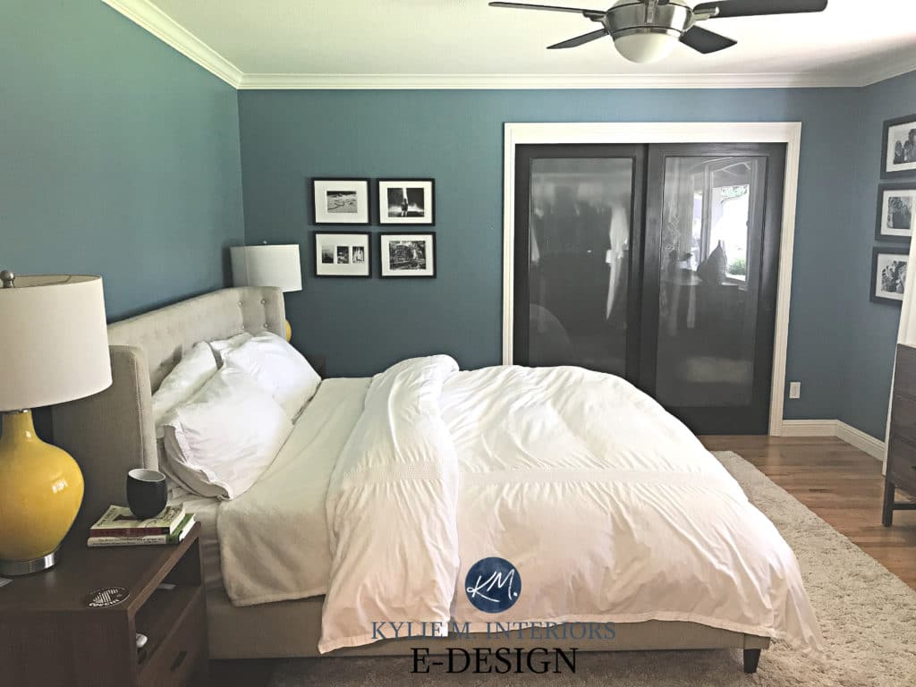 Benjamin Moore Sea Reflections, blue green teal paint colour, master bedroom. Kylie M Interiors edesign, online paint color and decorating advice