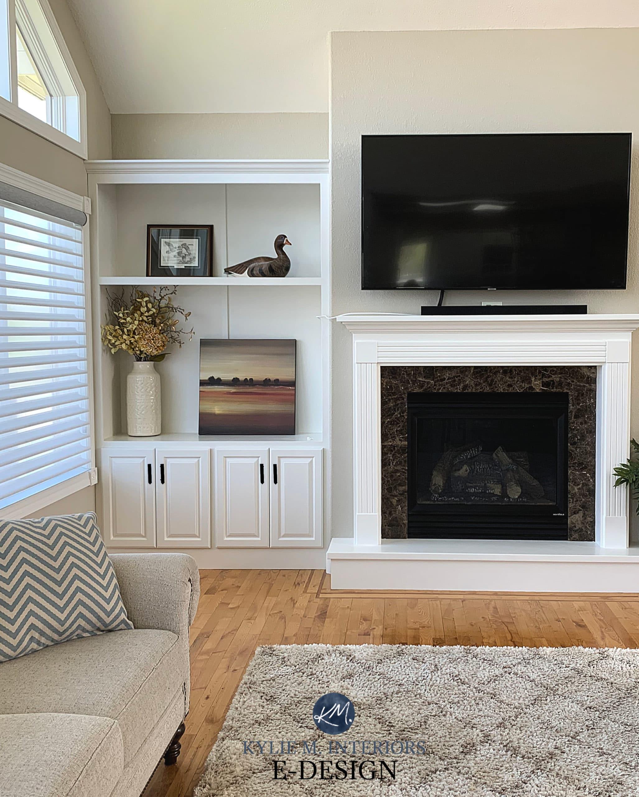 Best neutral beige, tan paint colour, Sherwin Sandbar. Living room, built-ins, fireplace, vaulted ceiling, Alabaster trim. Kylie M Interiors Edesign