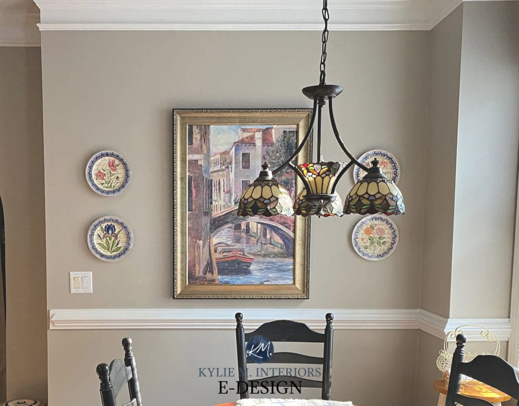 Best warm gray or greige, green undertone, Sherwin Williams Amazing Gray in traditional eating nook. Kylie M Interiors Edesign, online paint colour diy blogger (2)