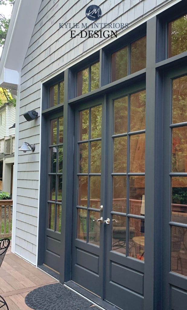 Exterior french doors, Benjamin Moore Cheating heart, Knitting Needles siding. Kylie M Interiors Edesign, online paint color consulting and virtual advice