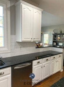Painted wood maple cabinets. Pure White and Iron Ore, Sherwin Williams Kylie M Interiors online virtual paint color and decorating advice. Black granite countertops