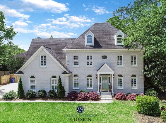 Sherwin Williams Agreeable Gray, Snowbound, Comfort Gray, on exterior painted brick home, white trim, Kylie M Interiors Edesign, online paint color consulting, diy