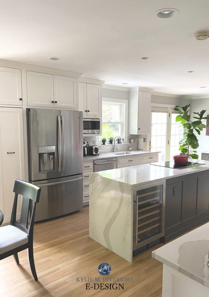White Dove painted cabinets, Urbane Bronze island, Brittanica quartz countertop. Kitchen remodel. Kylie M Interiors Edesign