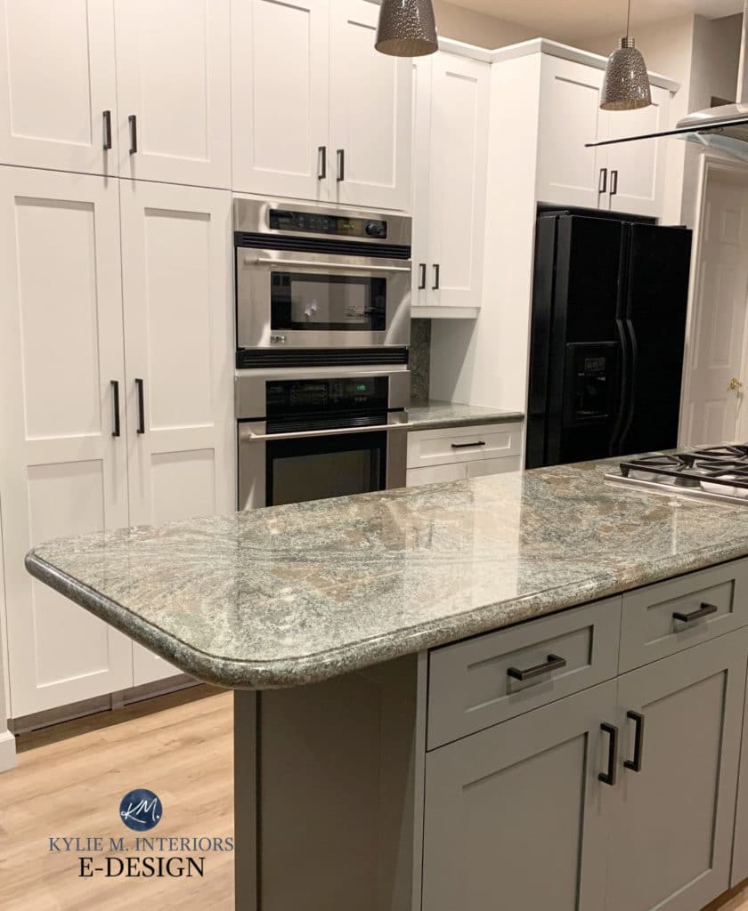 Benjamin Moore Amherst Gray on painted island, green in granite countertop, Chantilly Lace white on main cabinets, Stainless steel. Kylie M Edesign