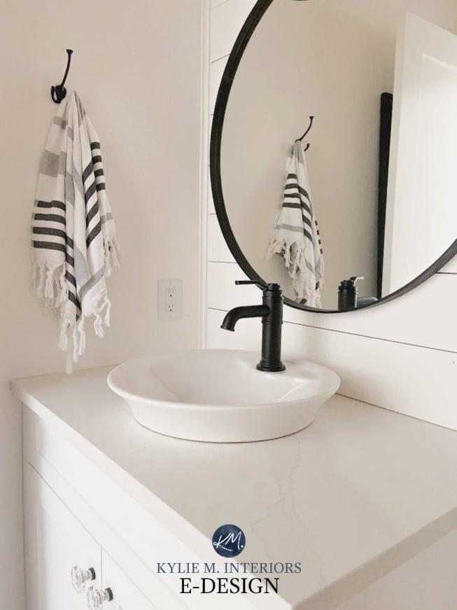 Benjamin Moore Super White, small bathroom or powder room, white silestone calacatta quartz, black round mirro and faucet. Shiplap. Kylie M Interiors Edesign