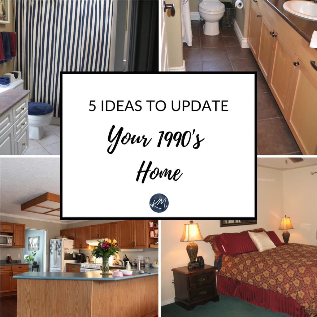 Ideas to update and modernize 1990s home. Countertops, cabinets, decor, metal finishes. Decor and paint colour. Kylie M Interiors Edesign, online advice DIY blogger and colour expert