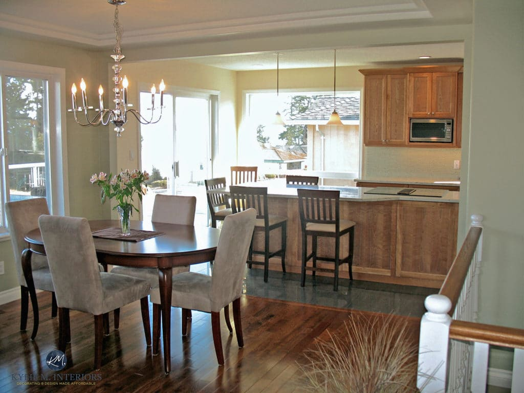 Open concept dining and kitchen with wall removed. Cherry cabinets and island with granite. Kylie M interiors. 1990s home update ideas