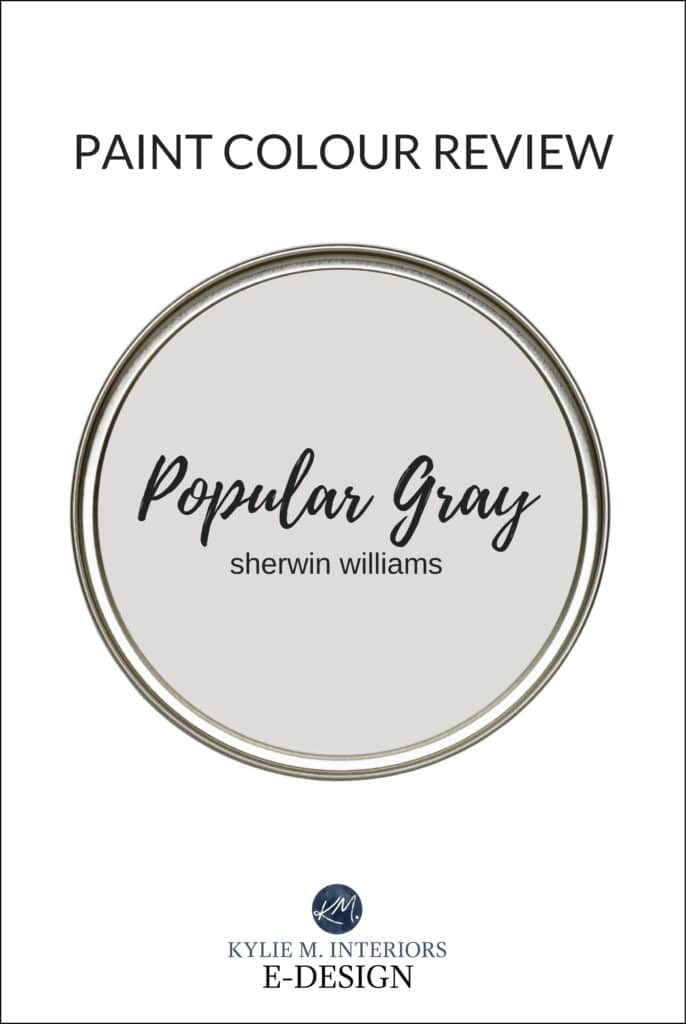 Paint colour review, best greige, taupe, warm gray paint colour Sherwin Williams Popular Gray. Kylie M Interiors Edesign, online virtual paint color expert and diy decorating advice