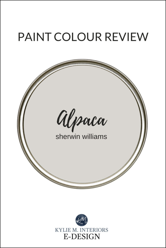 Paint colour review of Sherwin Williams Alpaca, popular greige taupe paint colour. Kylie M Interiors online paint color expert, virtual decorating advice and diy ideas (2)