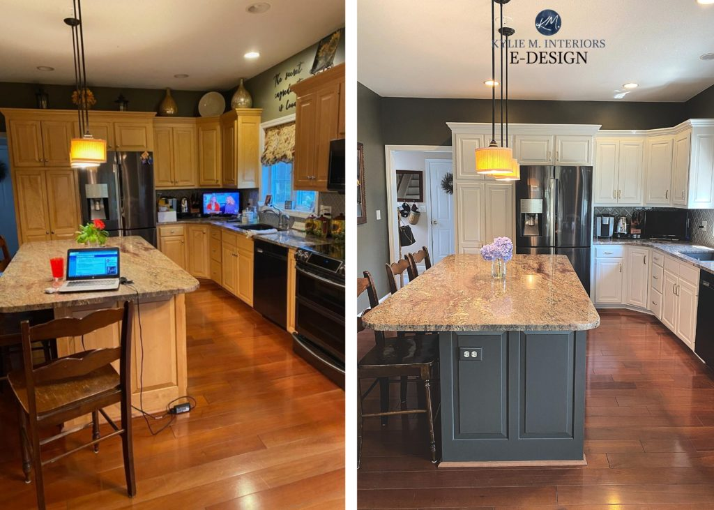 Before and after painted oak, maple cabinets. granite counterop, wood flooring. Kylie M Interiors Edesign, online paint color consulting