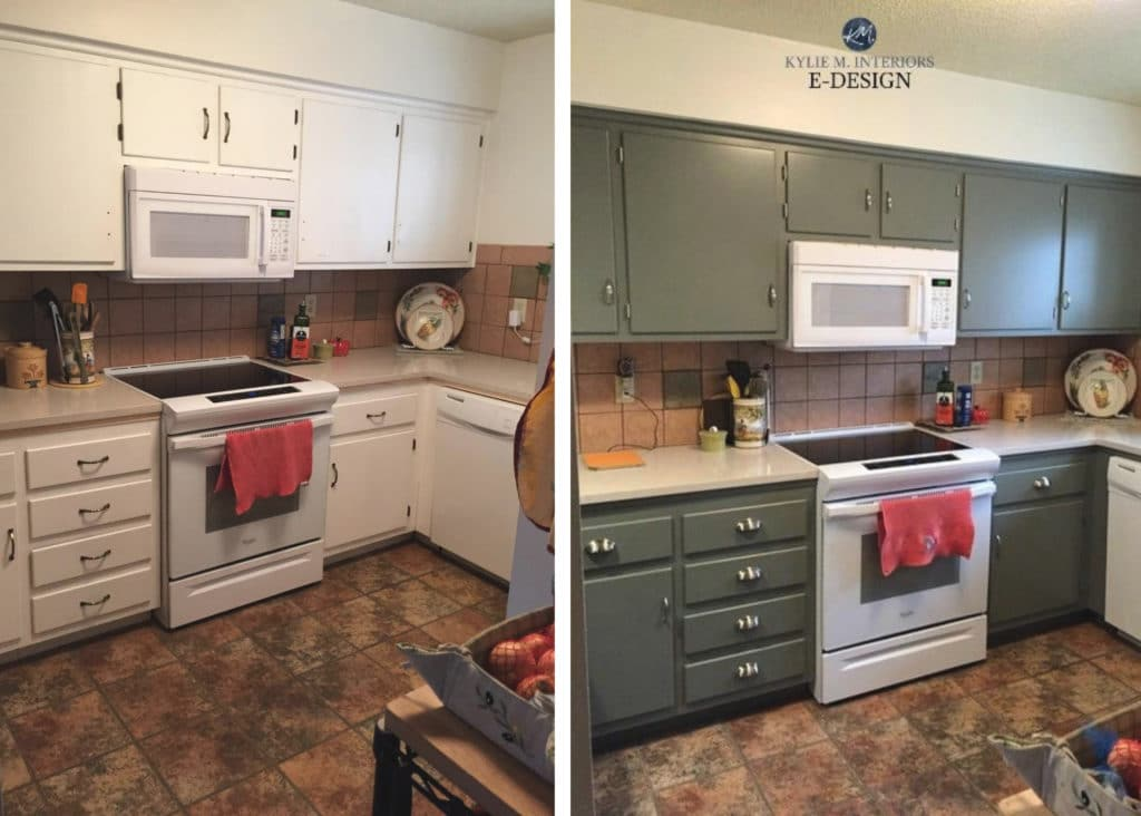Before and after painted pressboard mdf cabinets, budget-friendly beige tile floor, backsplash, laminate countertop. Kylie M Interiors edesign