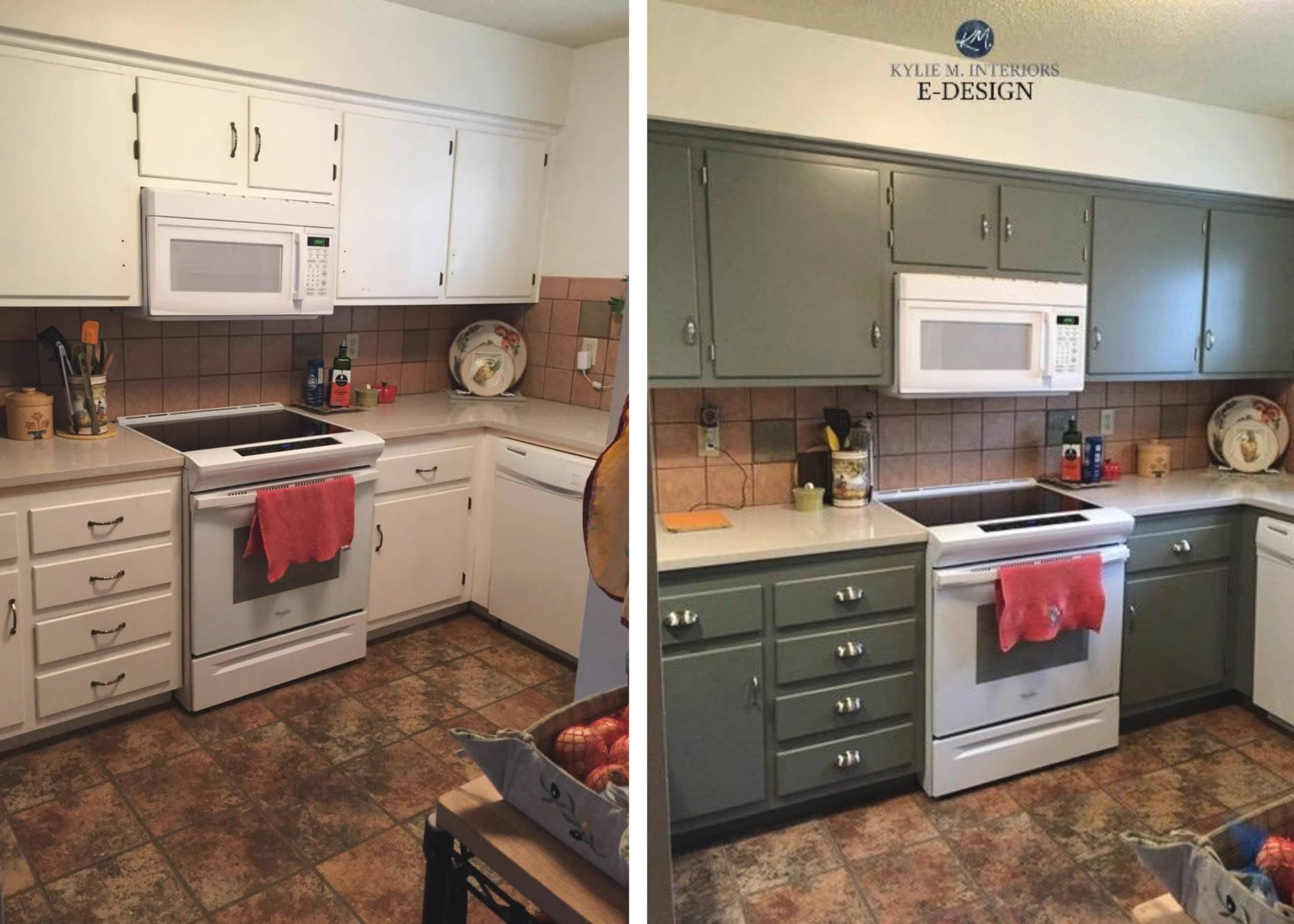 Before and after painted pressboard mdf cabinets, budget ...