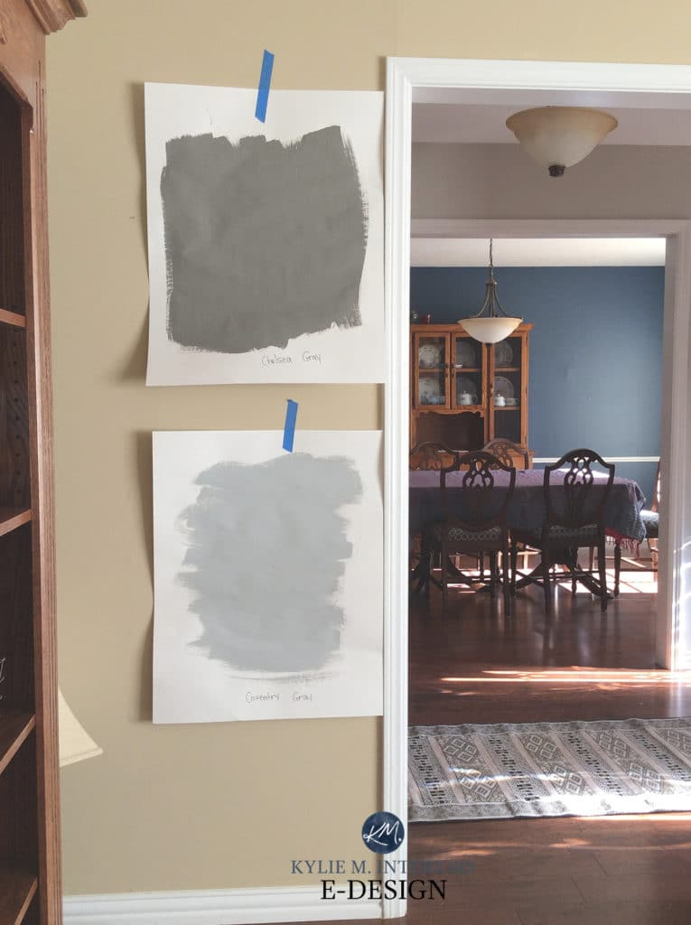 Benjamin Moore Coventry Gray and Chelsea Gray paint samples. Kylie M INteriors Edesign