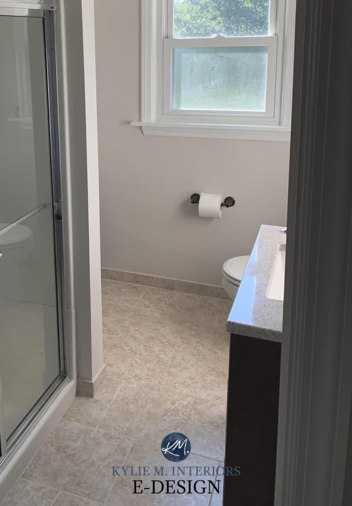 Benjamin Moore Pale Oak, update idea for bathroom with beige floor tile. Kylie M Interiors Edesign, online paint color consulting