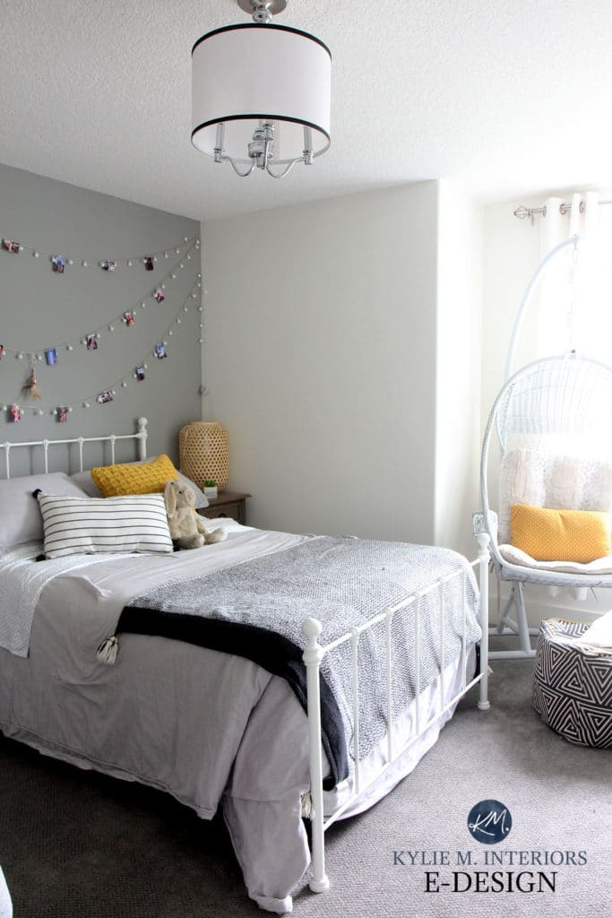 Benjamin Moore White Dove, Platinum Gray feature wall, teen tween girl room. Gray carpet. Kylie M Interiors Edesign (2)