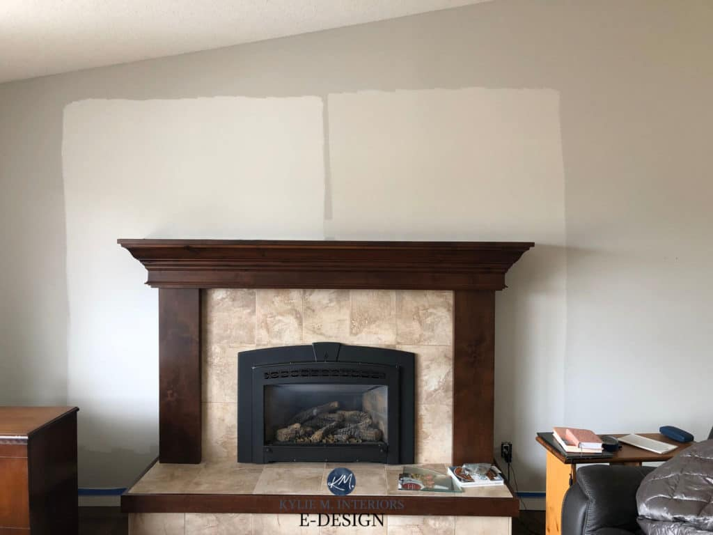 Ideas to update beige tile and fireplace with paint colours. Kylie M Interiors Edesign, online diy blogger and paint color advice
