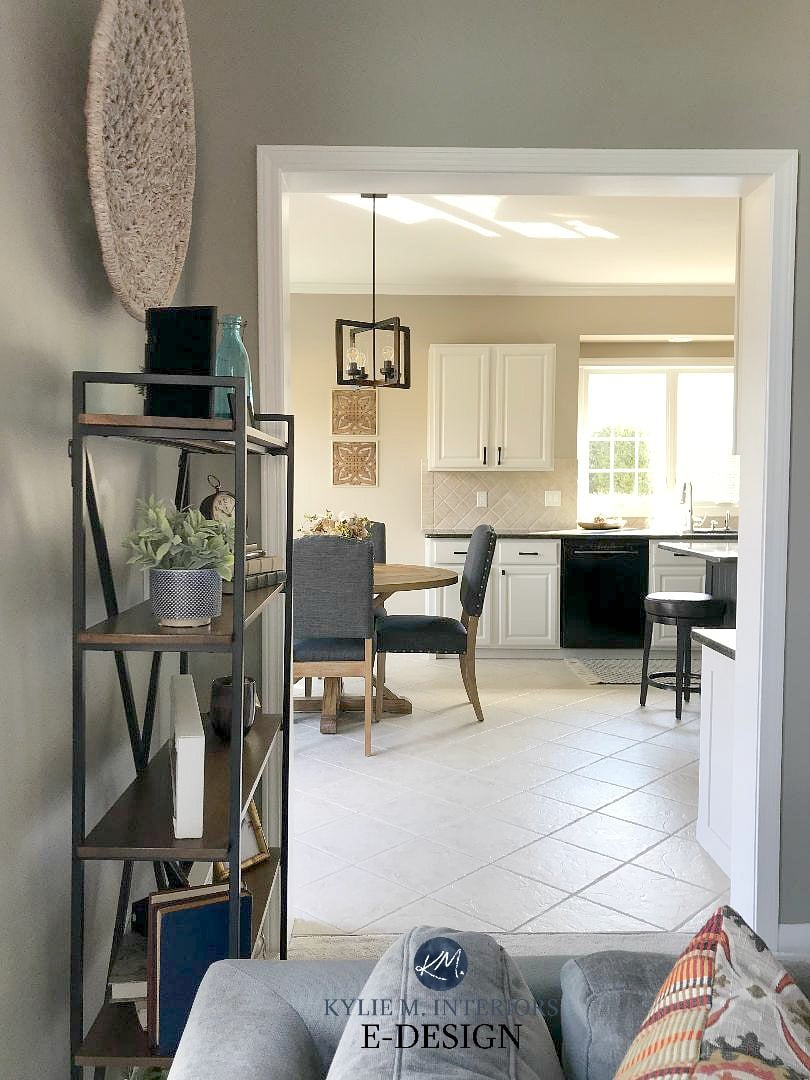 Maple kitchen cabinets painted off-white with beige tile floor and backsplash. Balanced Beige walls. Kitchen update ideas. Kylie M Interiors Edesign, online paint colour consultant