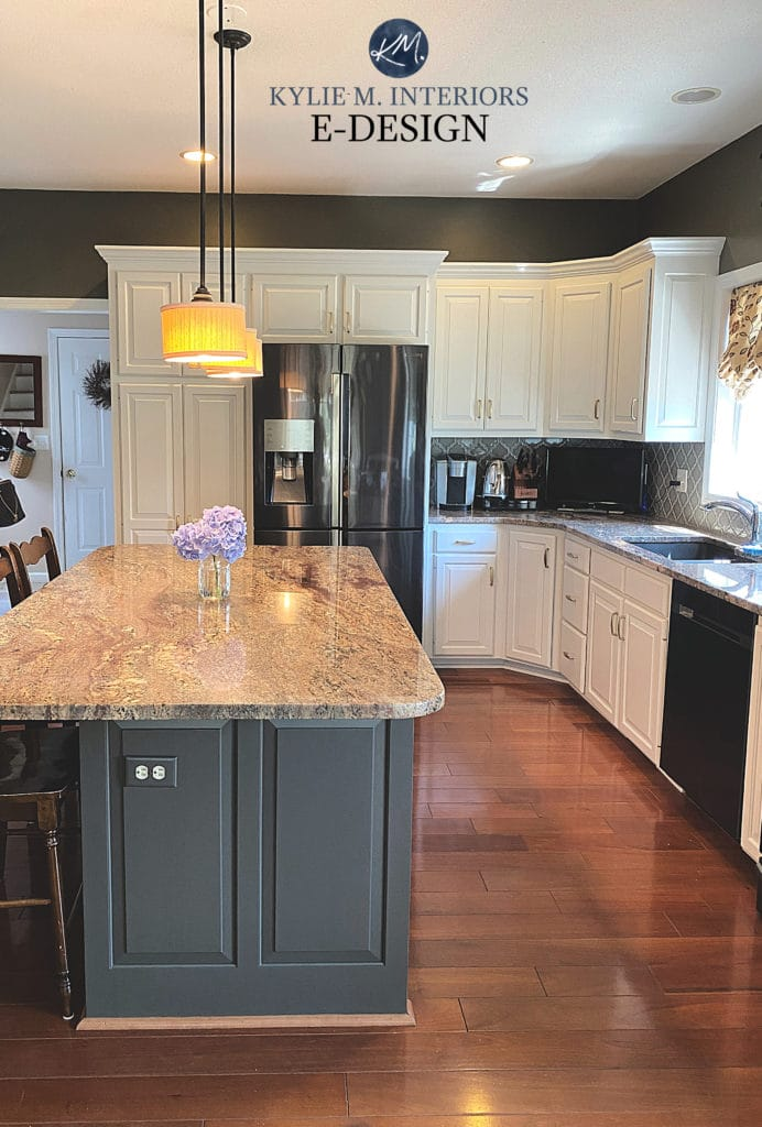 Maple painted wood cabinets, Sherwin Williams off white with dark greige green island and granite countertop. Kylie M Interiors Edesign, online paint color expert