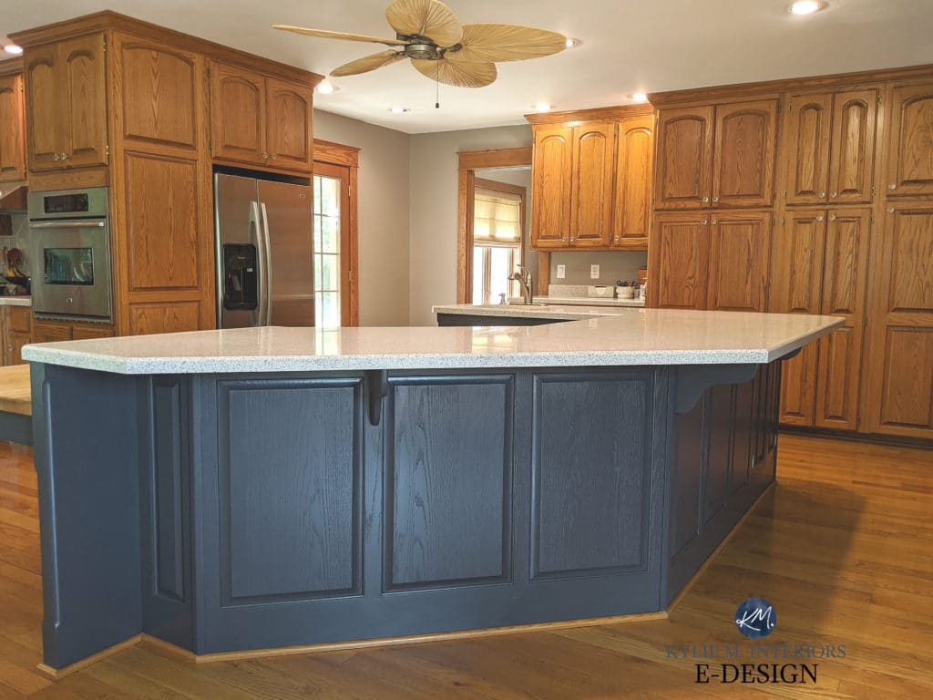 Oak wood kitchen cabinets update ideas painted island in Sherwin Williams Cyberspace, brass hardware, oak flooring. Kylie M Interiors Edesign, online paint colour expert decorating blogger (6)