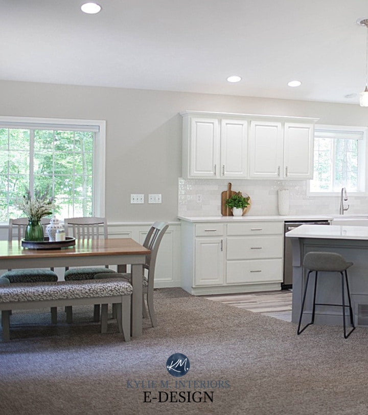 Oak wood painted cabinets, Benjamin Moore White Dove, island Dovetail, taupe carpet. Kylie M Interiors Edesign, split level idea (2)