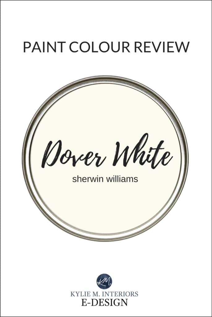 Paint colour review, best warm white creamy paint colour, Sherwin Williams Dover White. Kylie M Interiors Edesign, online paint colour expert and diy decorating blogger