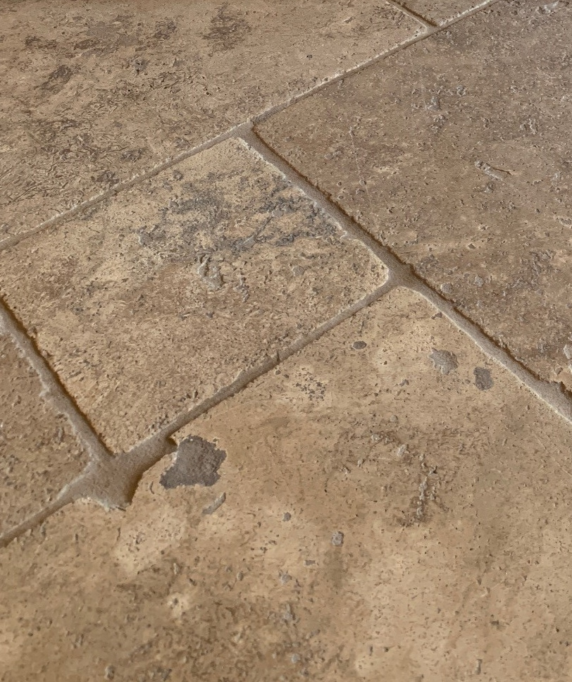 Paint colours with travertine or tuscan style tile. Kylie M Interiors
