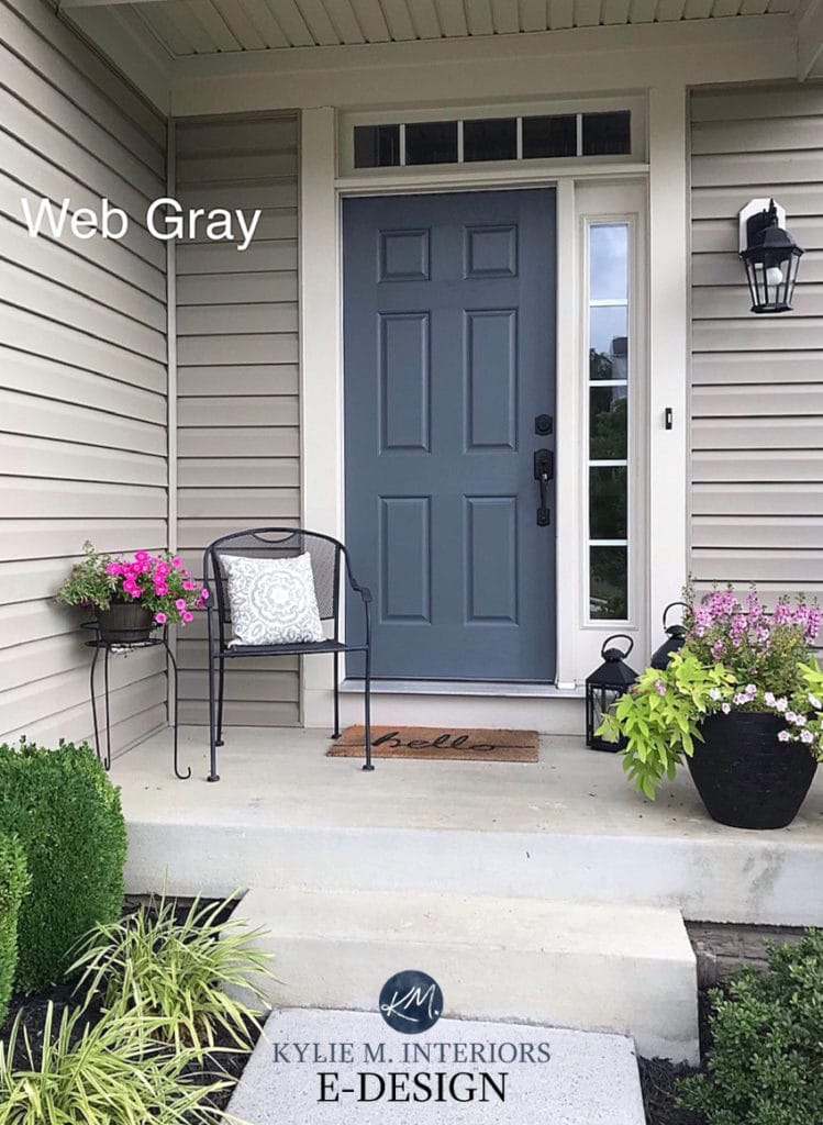 Painted front door colour ideas. Sherwin Williams Web Gray. Kylie M Interiors Edesign, online diy decorative advice. Curb appeal with beige or tan siding