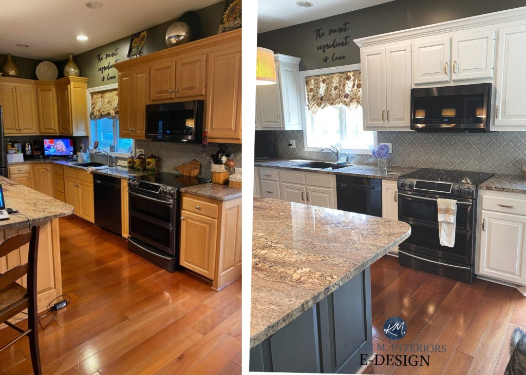 Painted maple or cherry cabinets before and after. Sherwin Aesthetic White, granite counters. Kylie M Interiors Edesign, online paint colour consulting and virtual diy decorating advice blogger (1)