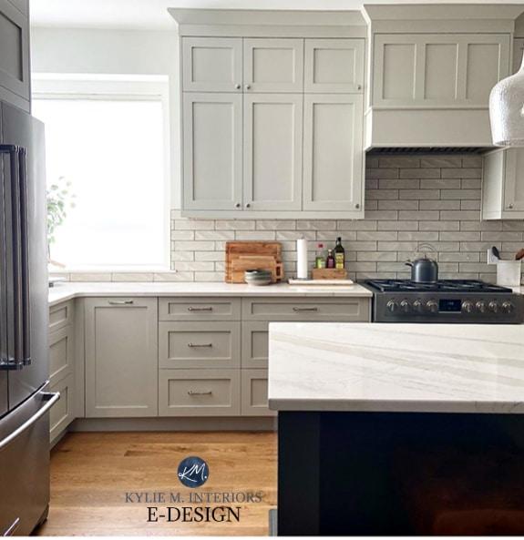 Revere Pewter kitchen cabinets, Cambria Brittanica warm quartz, URbane Bronze island, oak wood floor. Kylie M Interiors Edesign (1)