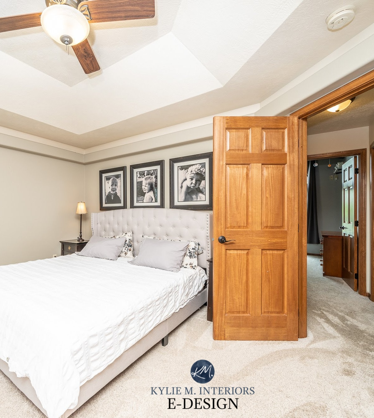 Sherwin Williams Canvas Tan Home Staging Ideas Bedroom Dark Wood Trim Beige Carpet Kylie M Interiors Edesign Online Paint Color Advice