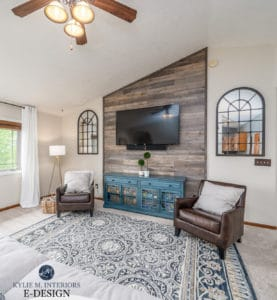 Sherwin Williams Canvas Tan, rustic wood feature wall behind tv, vaulted ceiling. Home staging ideas. Kylie M Interiors Edesign, paint colour advice (1)
