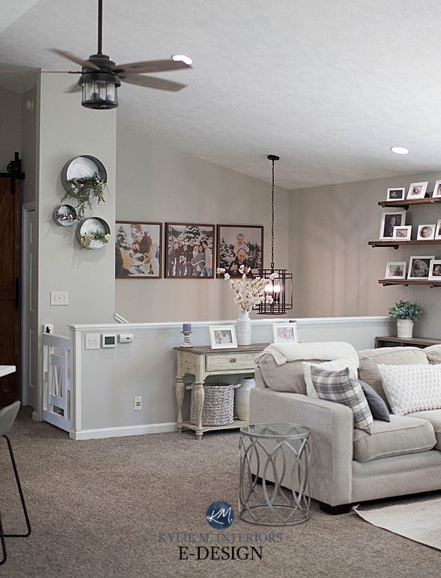 Split-level home, beige taupe carpet, Benjamin Moore Collingwood walls, white trim, livingroom and staircase. Kylie M Interiors Edesign, home update ideas and diy decorating blogger (3)