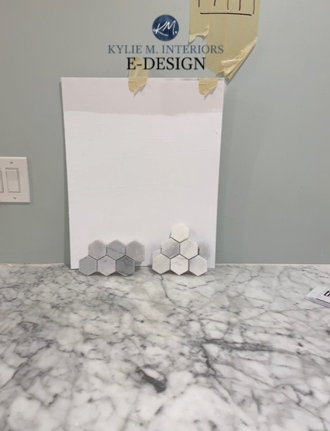 White paint colours with marble backsplash and countertop. Kylie M Interiors Edesign, online paint colour consulting and advice blogger