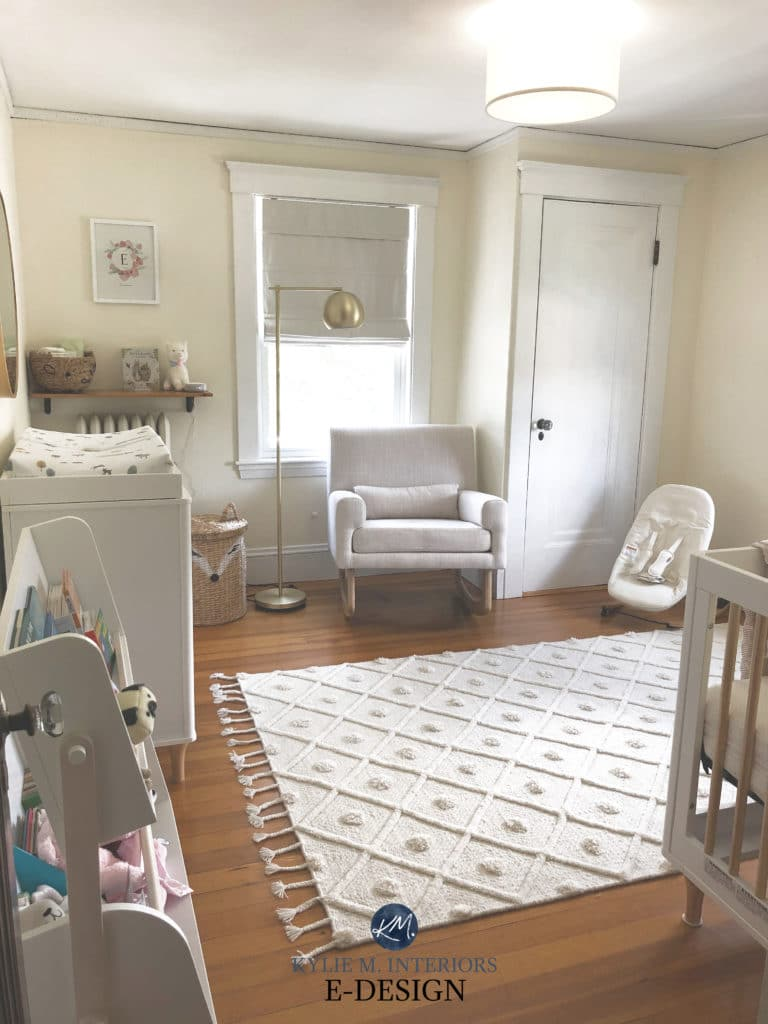 Best cream neutral paint colour, Benjamin Moore Featherbed in baby nursery room. Kylie M Interiors Edesign
