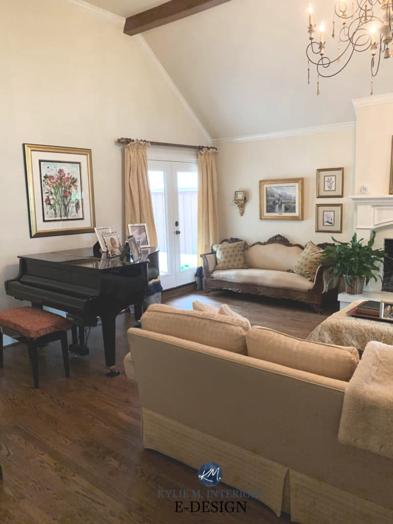 Best warm cream yellow paint colour, Benjamin Moore Winter White, traditional style living room, fireplace. Kylie M Interiors Edesign, online paint color consulting, DIY decorating ideas blogger (3)