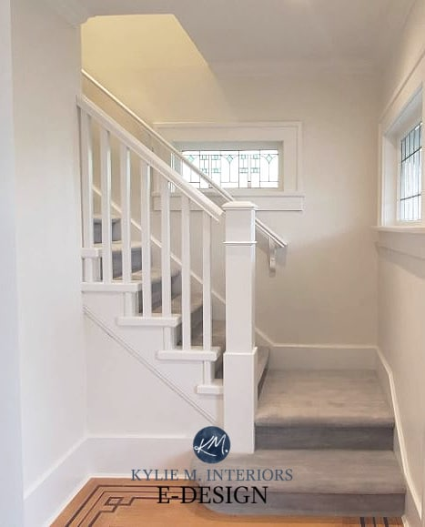 Best white paint colours, Benjamin Moore Oxford White and White Dove trim and walls, gray carpet, stairs. Kylie M Interiors Edesign, online paint color expert (3)