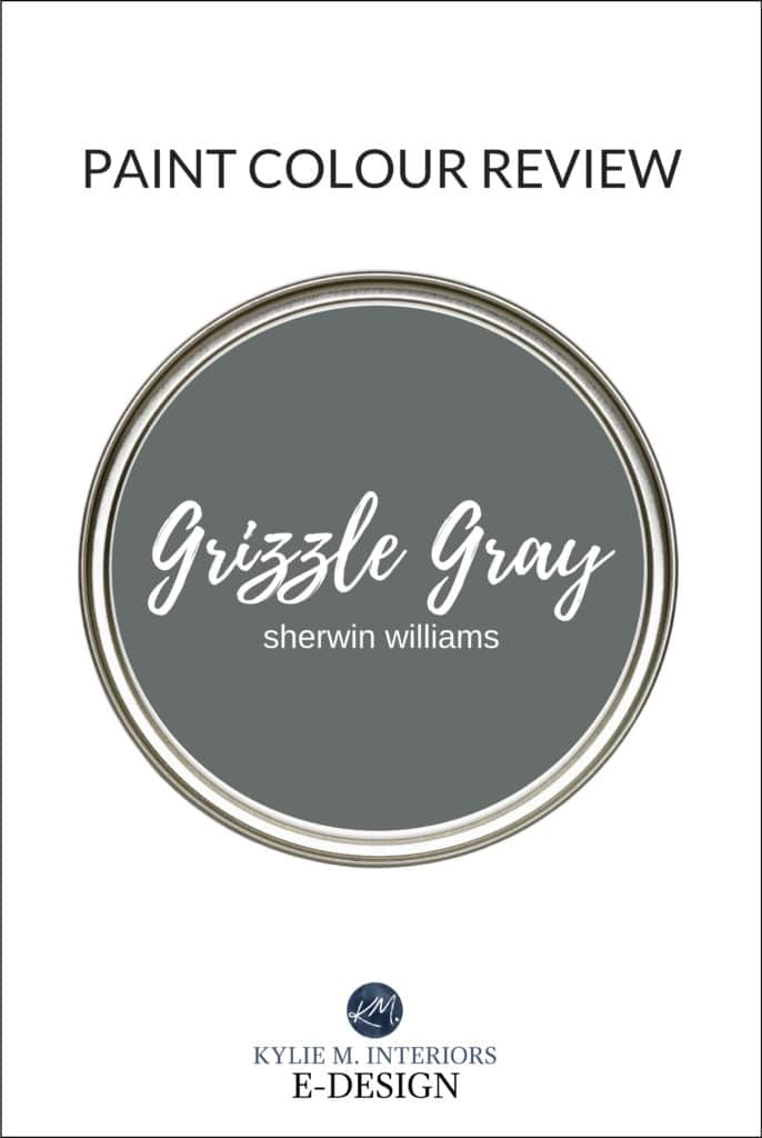 Paint colour review of best dark gray or charcoal paint colour, Sherwin Williams Grizzle Gray. Kylie M Interiors, popular e-design and paint colour blogger and diy advice