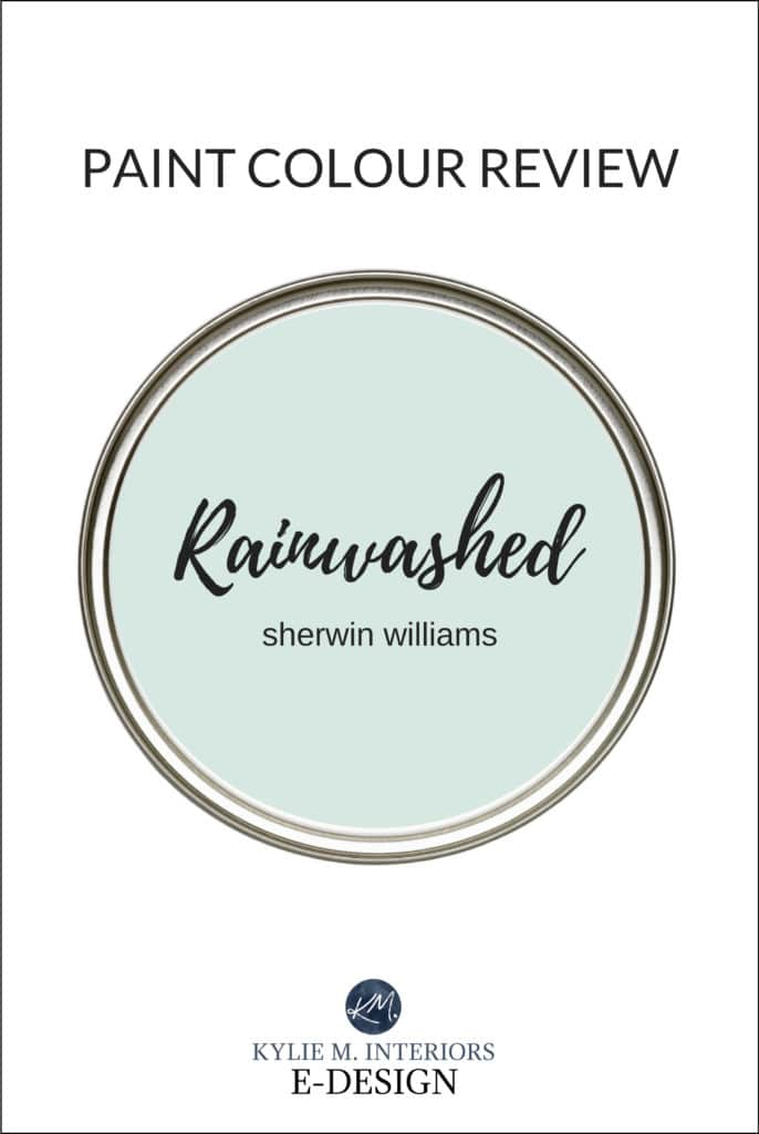 Sherwin Williams Rainwashed, popular blue green gray blend paint colour review. Kylie M Interiors Edesign, online paint color consult and diy decorating ideas