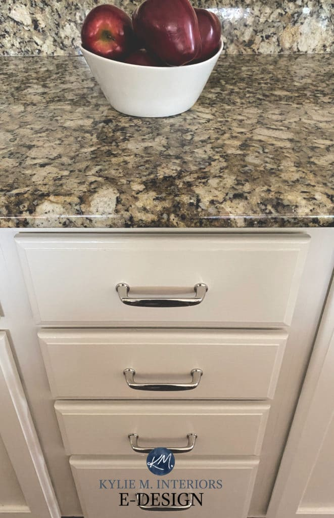 Sherwin Williams painted off white cabinets with granite countertop. Kylie M Interiors Edesign, online paint colour consulting (1)