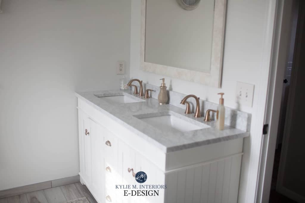 Bathroom white vanity, marble countertop, best white paint colour Benjamin Moore Decorators White, Kylie M Interiors Edesign, diy decorating blogger and advice