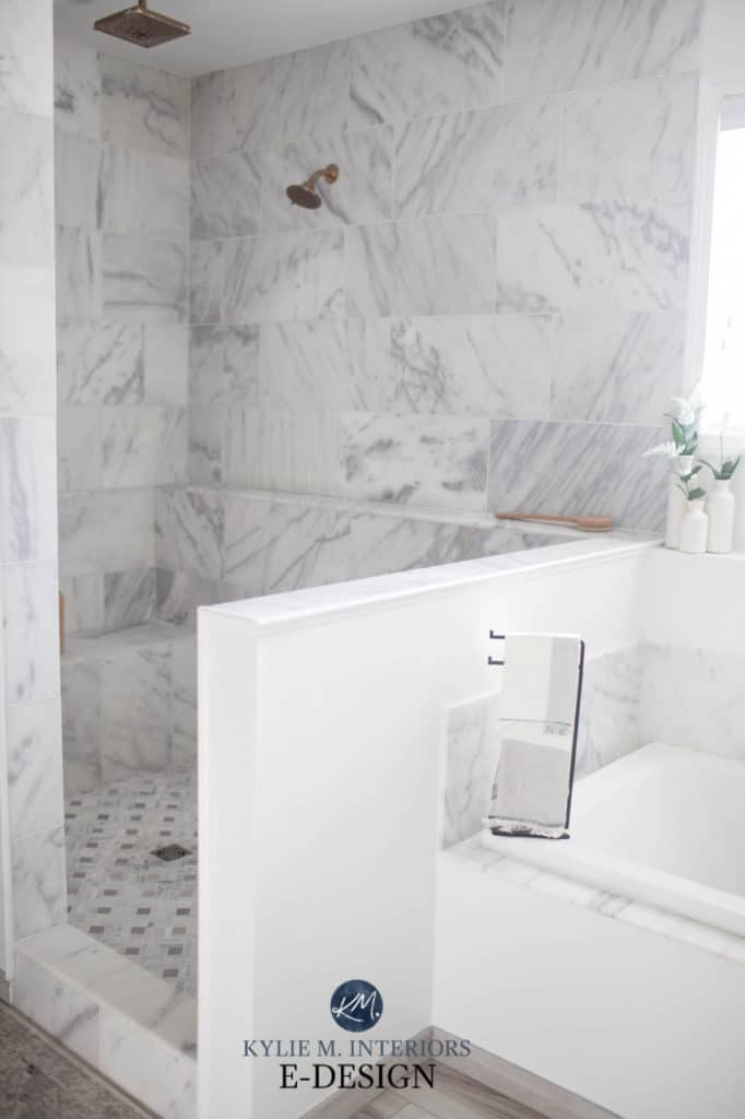 Bathroom with walk in shower, marble tile walls and floor, Best white paint colour, Benjamin Moore Decorators White. Kylie M Interiors Edesign, online diy decorating and advice blogger