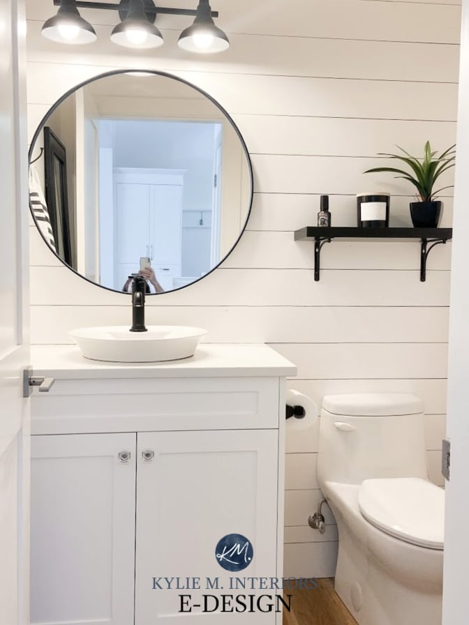 Benjamin Moore Super White, best white paint color, powder room small bathroom, shiplap, round mirror, black faucet, Kylie M Interiors Edesign - modern farmhouse style