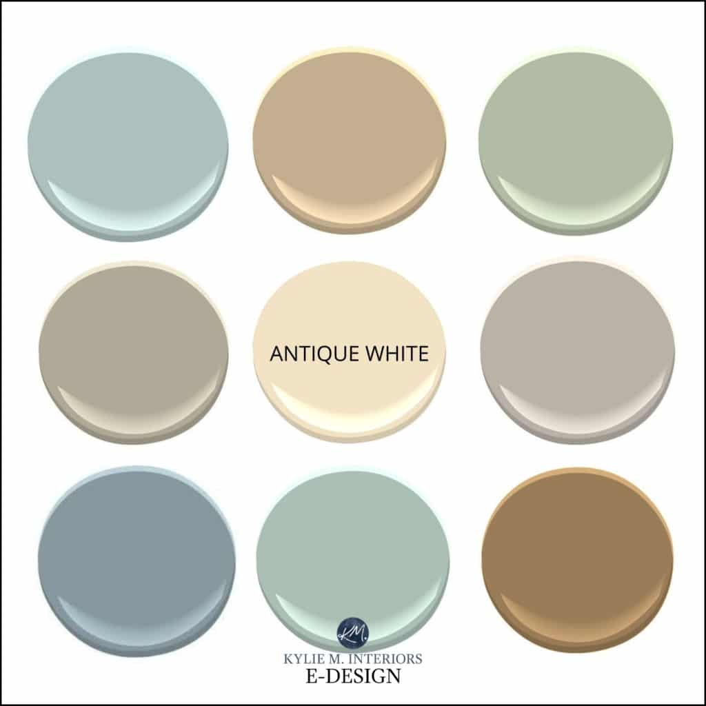 Best paint colours with Sherwin Williams Antique White. Kylie M Interiors Edesign, online diy decorating and design advice blogger